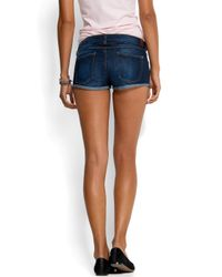 Mango - Blue Fitted Mini Shorts - Lyst