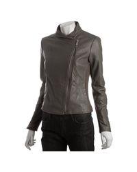 MICHAEL Michael Kors | Brown Taupe Leather Asymmetrical Zip Knit Trim Jacket | Lyst