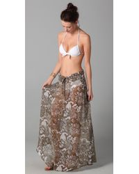 Mikoh Swimwear - Brown East Hampton Long Silk Skirt Cover Up - Lyst