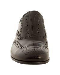 Prada | Black Leather Wingtip Lace-less Oxfords for Men | Lyst