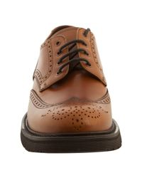 Prada - Brown Ocra Leather Rubber Lug Wing-tip Oxfords for Men - Lyst
