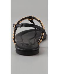 Tory Burch - Black Aine Flat Sandals - Lyst