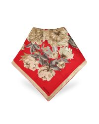 Valentino | Red Floral Printed Silk Square Scarf | Lyst