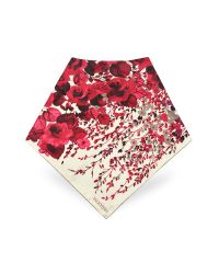 Valentino - Red Vintage Rose Printed Silk Square Scarf - Lyst