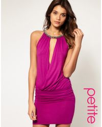 ASOS Collection Purple Asos Petite Embellished Neck Dress with Fitted Skirt