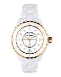Chanel | White J12 33mm Pink Gold Watch | Lyst