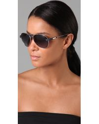 Chloé | Blue Oversized Tamaris Aviator Sunglasses with Leather Trim | Lyst