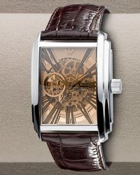Emporio Armani Automatic Skeleton Leather Watch, Brown for men