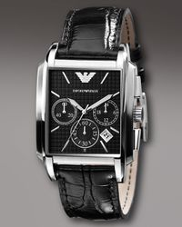 Emporio Armani | Square Chronograph Watch, Black for Men | Lyst