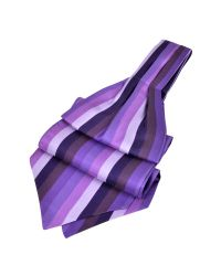 FORZIERI - Purple Vertical Stripe Tone On Tone Woven Silk Ascot for Men - Lyst