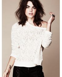 Free People - White All Over Lace Pullover - Lyst