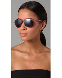 Gucci - Red Aviator Sunglasses - Lyst