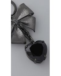 Juicy Couture - Black Bow Key Keychain - Lyst