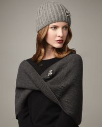 Lanvin | Gray Ribbed Infinity Scarf | Lyst