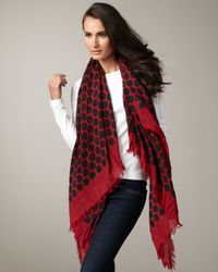 Marc Jacobs - Black Large Dotted Cashmere-silk Scarf, Red - Lyst