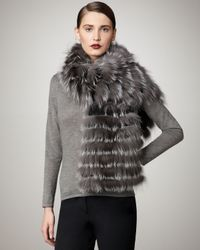 Sofia Cashmere | Gray Feathered Fox Pocket Stole | Lyst