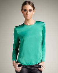 Theory | Green Satin Top | Lyst