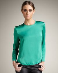Theory - Green Satin Top - Lyst