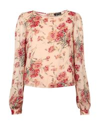 TOPSHOP | Pink Long Sleeve Rose Print Blouse | Lyst