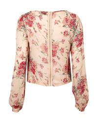 TOPSHOP - Pink Long Sleeve Rose Print Blouse - Lyst