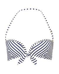 TOPSHOP | Blue Navy Stripe Bikini Top | Lyst