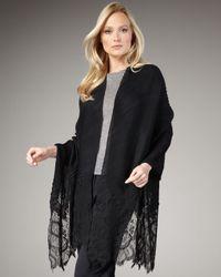 Valentino | Black Cashmere Plisse & Lace Shawl | Lyst