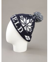 Penfield Blue Bobble Beanie Hat for men