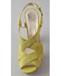 Pelle Moda - Green Billow Criss Cross Suede Platform Sandals - Lyst