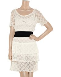 See By Chloé | White Belted Cotton-blend Lace Dress | Lyst