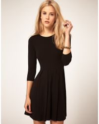 ASOS Collection | Black Asos Dress with Pleated Skater Skirt | Lyst