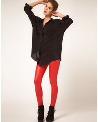 ASOS Collection - Red Asos Leggings in Wet Look Foil - Lyst