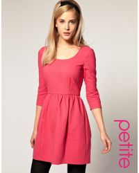 ASOS Collection | Pink Asos Petite Pique Bow Back Fit and Flare Dress | Lyst