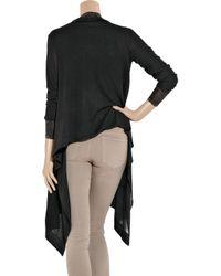 DKNY - Black Cozy Silk-blend Wrap Cardigan - Lyst