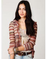 Free People - Natural Stripe Hooded Cardigan - Lyst