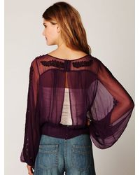 Free People - Purple Embroidered Sheer High Neck Top - Lyst