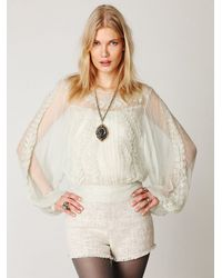 Free People | White Embroidered Sheer High Neck Top | Lyst