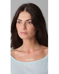 Jennifer Zeuner | Metallic Horizontal Bar Necklace with Diamond | Lyst