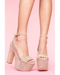 Nasty Gal | Natural Shazzam Platform - Taupe Suede | Lyst