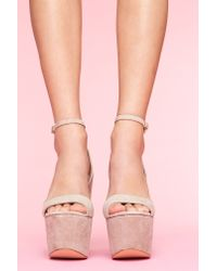 Nasty Gal - Natural Shazzam Platform - Taupe Suede - Lyst