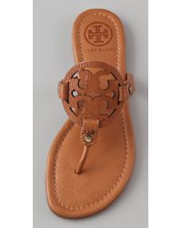 Tory Burch | Brown Miller Flat Thong Sandals | Lyst