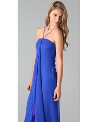 Halston - Blue Reverse Shark Gown - Lyst