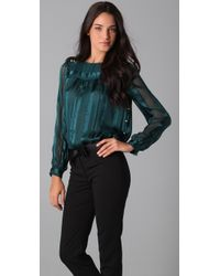 MILLY - Blue Piped Amia Boat Neck Blouse - Lyst