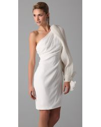 Notte by Marchesa | Natural Pleated One Sleeve Dress | Lyst