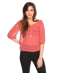 Nasty Gal | Pink Tiered Chiffon Top - Dusty Ros | Lyst