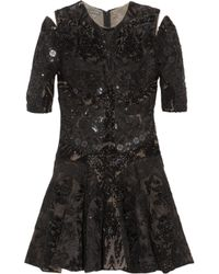 Alexander McQueen | Black Embellished Silk-tulle, Organza and Satin Dress | Lyst