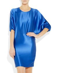 Amanda Wakeley | Blue Hammered Silk-Satin Dress | Lyst