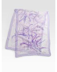 Armani - Purple Watercolor Fern Print Scarf - Lyst