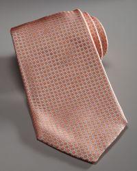 Armani | Micro-neat Silk Tie, Orange/silver for Men | Lyst