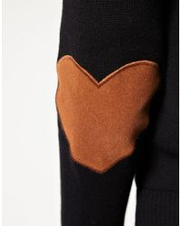ASOS Collection | Black Jumper with Heart Elbow Patch | Lyst