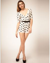 ASOS Collection | White Asos Playsuit in Sequin Spots | Lyst